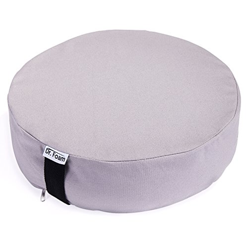 DR. FOAM Premium Comfort Memory Foam and Natural Buckwheat Hulls Round Cotton Meditation Bolster Seat Cushion for Spine Support