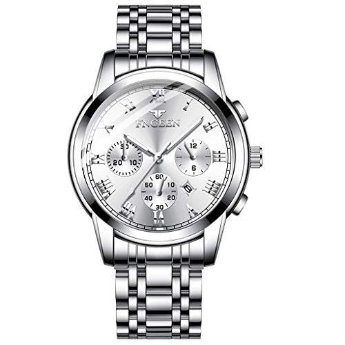 Men Watches hessimy Mens Stainless Steel Quartz Analog Wrist Watch Men Fashion Casual Sport Wristwatch Luxury Brand Business Dress Watches