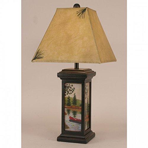 - Black Small Square Canoe Scene Table Lamp