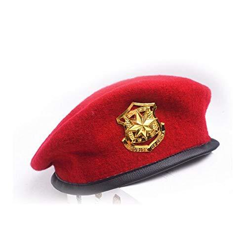 Ilense New Metal Emblem Unisex Woolen Beret Military Hats Adjustable Costume Party Cosplay Perform Navy Cap -