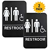 Plastic Restroom Sign: Easy to Mount with Braille (ADA Compliant), Great for Business - 6''x9'', Unisex, Handicap - Pack of 2