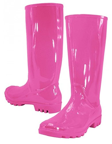 Easy USA Women Rain Boots Stylish Waterproof Rubber Boots for Ladies Pink 9 ()