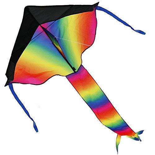 coogam grande arco iris cometa Kite Carrete para niños y adultos con cadena y–Pequeño pero se pliega grande–El...