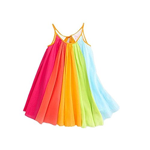 Girls Dresses, Hot Sale Convinced Summer Girls Beach Rainbow Dress Girls Sleeveless Sling Perform Party Chiffon Tutu Dress,Dresses for Girls 7-8 (6-7T, Multicolor)