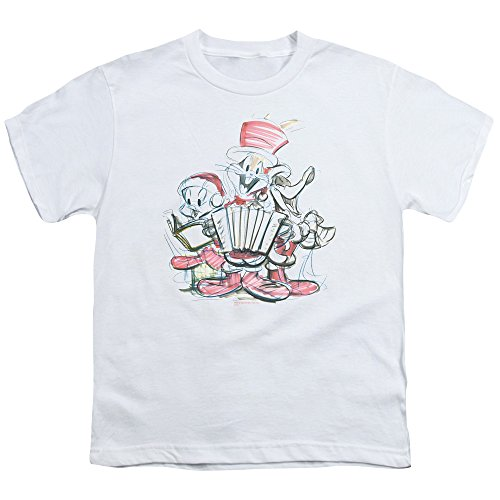 Looney Tunes Holiday Sketch Unisex Youth T Shirt for Boys and Girls, Small White