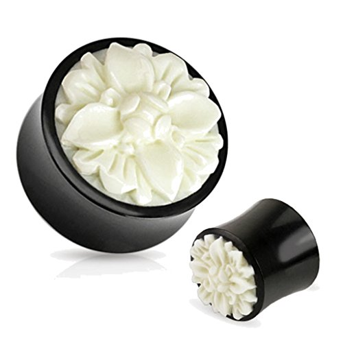 Bone Inlay Body Jewelry Tunnels - Pair of Black Organic Buffalo Horn Plugs Gauges Ear White Flower 0g 00g 1/2 8mm 10mm 12mm (1/2)