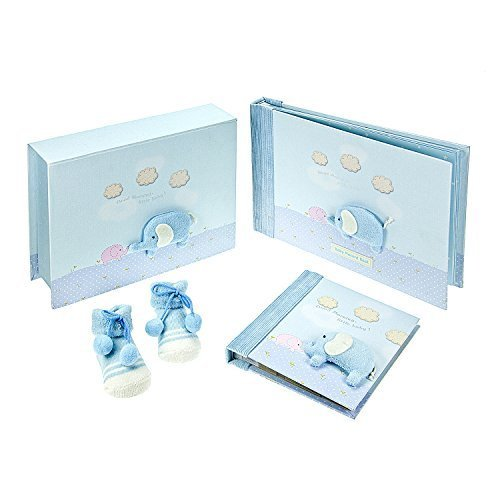 Baby Boy Gift Set Blue Elephant Baby Record Memory Book and Matching Keepsake Box with Photo Album and Booties for Newborn - Baby Shower Present Mousehouse Gifts