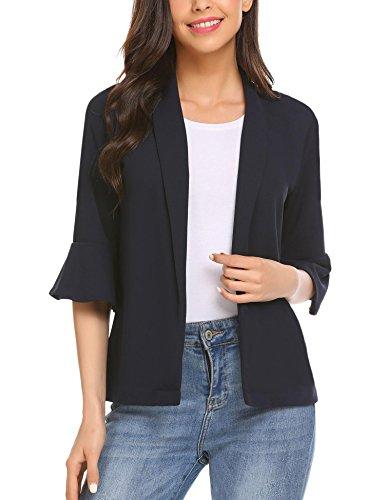 Gfones Women's Casual Open Front Work Office Jacket Ruffles 3/4 Sleeve Blazer, Navy Blue, Large ()