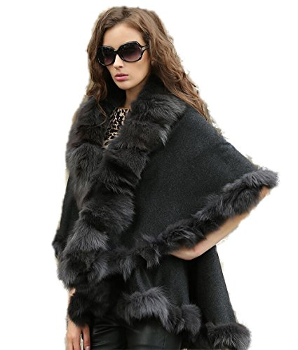 oncho Genuine Fox Fur Trim all around Double Cape (gray) ()