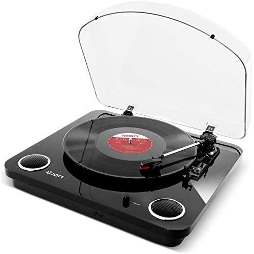 chollos oferta descuentos barato ION Audio Max LP Tocadiscos de vinilo de 3 Velocidades con Altavoces estéreo Salidas Auriculares y RCA Salida USB para Convertir Discos de Vinilo a Archivos Digitales Acabado en Negro Piano
