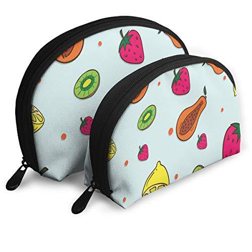 Makeup Bag Papaya Strawberry Lemon Portable Half Moon Beauty Bags Set Storage For Women,Girls 2 Piece