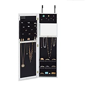 InnerSpace Luxury Products Mirrored Jewelry Armoire with LED Lights, Weathered White