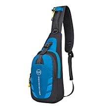 Unisex Leisure Sling Bag Waterproof Splash Outdoor Sport Crossbody Chest Pack Running Hiking Biking Climbing Shoulder Backpack for iPhone 7 6 Apple iPad Mini 2 3 4 Tablet Blue and Gray
