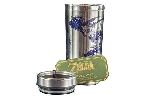 Paladone The Legend of Zelda Link Travel Mug - 15oz Hylian Shield Design Commuter Cup]()