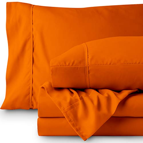 Bare Home Premium 1800 Ultra-Soft Microfiber Sheet Set Twin Extra Long - Double Brushed - Hypoallergenic - Wrinkle Resistant (Twin XL, Orange)