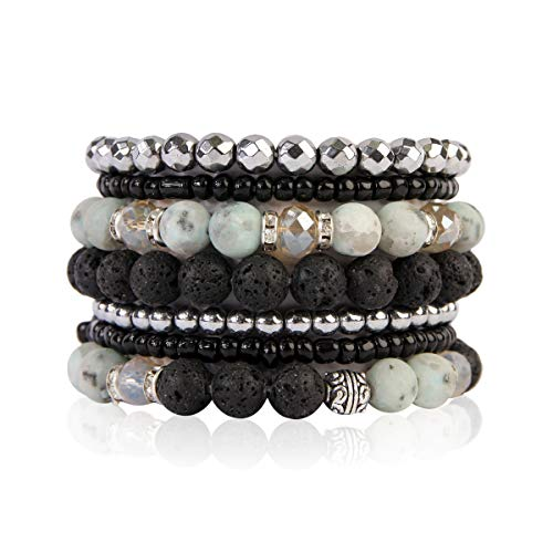 (RIAH FASHION Bohemian Lava Stone Hematite Essential Oil Diffuser Multi Strand Bracelet - Healing Aroma Therapy Beaded Natural Volcano Rock Stretch Bangles Lotus ([S-M] 7 Layer Mix - Light Jade))