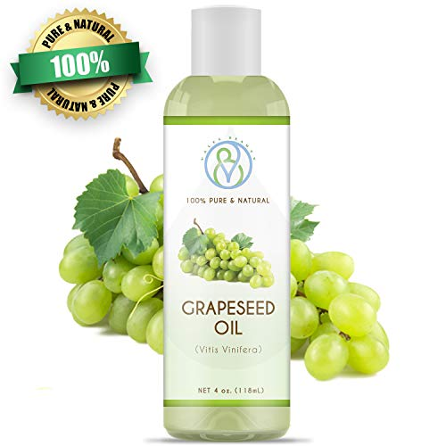 Grapeseed Oil Cold Pressed Unrefined 100% Natural Therapeutic Grade Carrier 4 oz Ideal For Aromatherapy, Body Massage, Moisturizing & Healing Dry Skin, Hair, Acne, Prevents Aging and Face Wrinkles