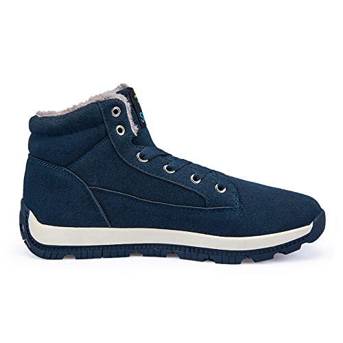 Sneakers Scarpe Caldo Pelle Uomo Lace Up Stivali Alte Unisex verde2 Alte Inverno JACKSHIBO xfwqg8OW