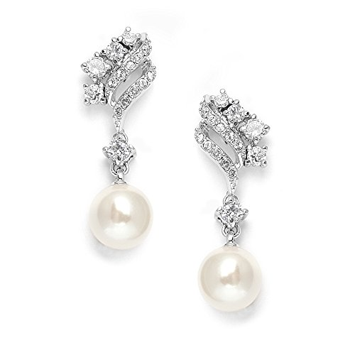 Mariell Graceful Cubic Zirconia and Ivory Glass Pearl Drop Wedding Bridal Earrings with Vintage Styling