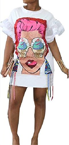 Womens Sexy Short Sleeve Hip Hop O Neck Beauty Big Face Printed Loose Casual Party Clubwear Dress by Recious