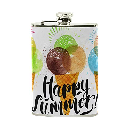 Steel Stainless Flask,Watercolor Ice Cream Cones Leather Pocket Funnel with Screw Top,Liquor Alcohol Whiskey Classic Hip for Men,8 OZ