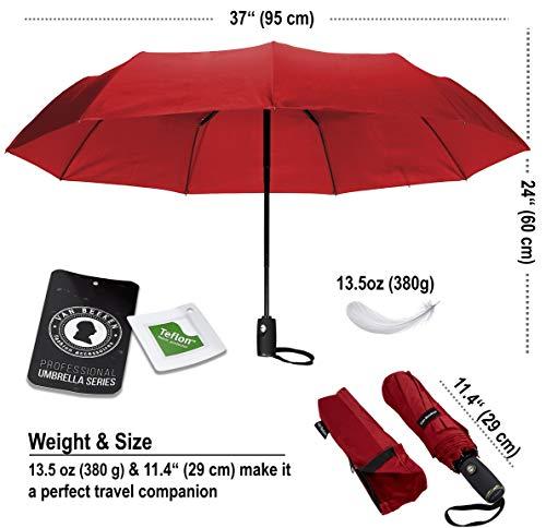 VAN BEEKEN Umbrella Windproof I Wind Resistant Travel Umbrella with Teflon I Light Compact Umbrella I Mini Umbrella Portable Folding Umbrella for Men Women (Red)