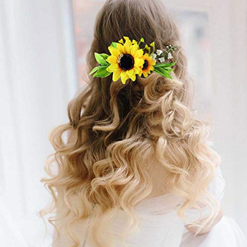 Fangsen Gold Wedding Sunflower Hair Comb Bride Hair Accessories Yellow Flower Pearl Bridal Headpiece Decorative for Women and Girls -