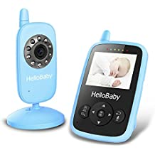 HelloBaby Wireless Video Baby Monitor Security Camera with Night Vision & Temperature Monitoring, 2 Way Talk Talkback System and VOX Mode (HB24 Blue)