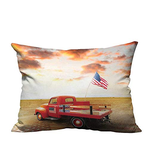 YouXianHome Sofa Waist Cushion Cover American Flag Husband Gifts Vintage Funny Cars American USA Flag 1950s Retro Decor Decorative for Kids Adults(Double-Sided Printing) 19.5x26 inch