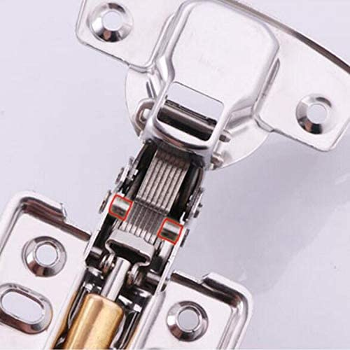 Brass Buffer Hydraulic Hinge Full Overlay - Color: Fixed-Full Cover Soft Close 1pcs 201 Stainless Steel Furniture Hinge