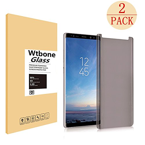 [2Pack] Galaxy Note 8 Tempered Glass Screen Protector, Wtbone - Privacy [Case-Friendly][9H Hardness][Anti Peeping][Easy to Install] Compatible Samsung Galaxy Note 8 from FURgenie