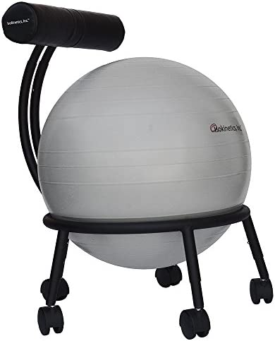 Isokinetics Inc. Brand Adjustable Fitness Ball Chair – Metal Frame – 2 Frame Finishes – Exclusive 60mm 2.5 Wheels – Multiple Ball Color Choices – Adjustable Base and Back Height