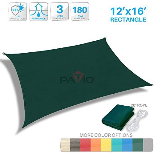 Patio Paradise 12 x 16 Dark Green Sun Shade Sail Rectangle Canopy – Permeable UV Block Fabric Durable Outdoor – Customized Available