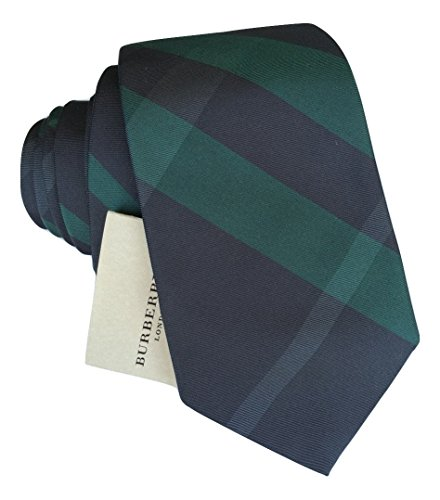 - New Burberry London Rohan Carbon Blue Check Slim Neck Tie