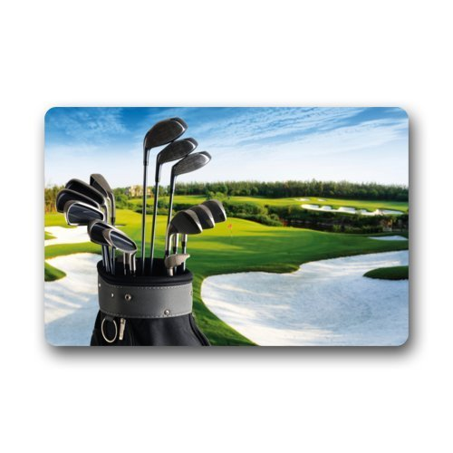 (Golf Clubs Brassie Golfball Sport Doormats Entrance Mat Floor Mat Door Mat Rug Indoor/Outdoor/Front Door/Bathroom Mats Rubber Non Slip (23.6