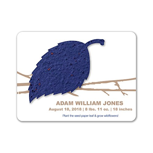 Bloomin Plantable Aspen Birth Announcement Favor with Seed Paper - Royal {25 Card ()