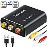 RCA to HDMI Audio Converter- Techole 1080P RCA Composite CVBS AV to HDMI Adapter Supporting PAL/NTSC with Included 3RCA Composite Cable, CVBS Converter for PS2 Wii Xbox SNES N64 VHS VCR Camera DVD PC