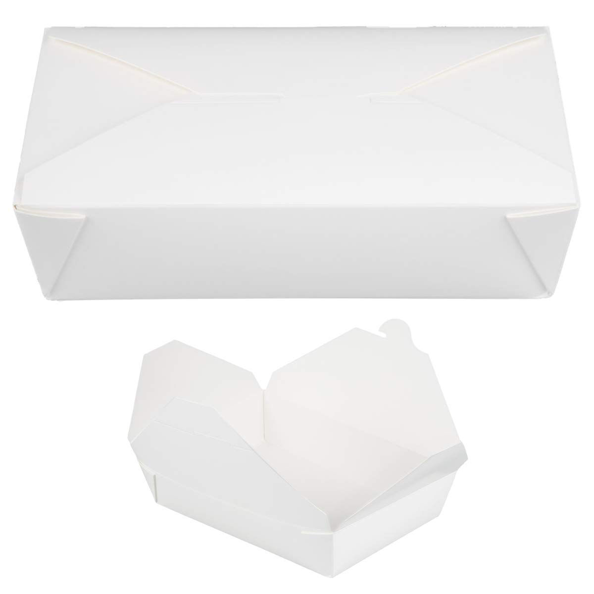 MM Foodservice Disposable Paper Take Out Boxes, Microwavable Take Out Containers, Leak and Grease Resistant Carryout, Takeout Food Box, 7 3/4 x 5 1/2 x 2 Inch, 49-Ounce Capacity (White, 100 Pack)