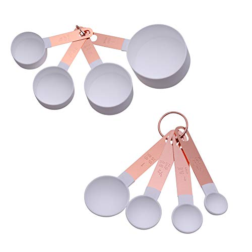COOK With COLOR 8-Piece White Nylon Measuring Cups and Measuring Spoon Set With Rose Gold Copper Handles ()