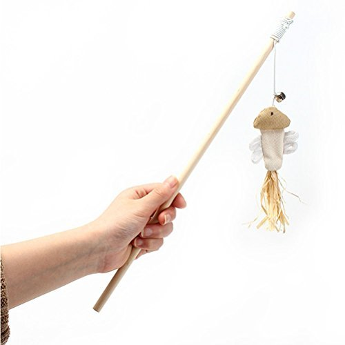 Price comparison product image UEETEK Burlap Fish Shape Cat Teaser Interactive Toy Wand with Bell and Feather