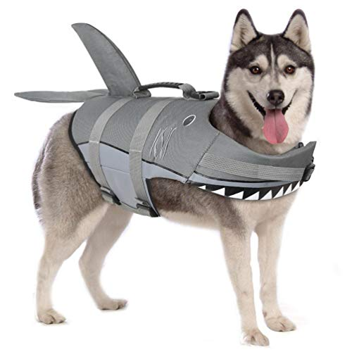 Petacc Dog Life Jackets Pet Life Vest Flotation Dog Swimwear with Shark Shape for Middle Size Dogs (M, Grey)