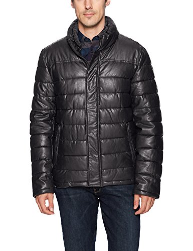 Dockers Men's Lamb Touch Faux Leather Puffer Jacket, Black, Large