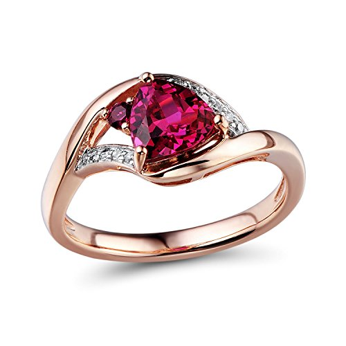 Contemporary Trillion Ring (Lab Created Ruby Ring Diamond Accents in 10k Rose Gold and White Rhodium Plated Accents)