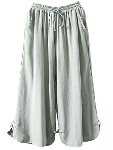 Minibee Women's Linen Cropped Pants Drawstring Waist Wide Leg Trousers with Frog Button Light Green-2XL ()