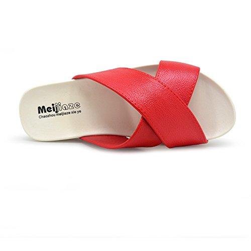 Antideslizante Sandalias Suela Zapatos Beach Sea Rojo Ducha para Piscina con Holiday Slides Polliwoo Mujeres de de q85vA