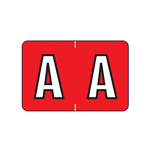 Alphabetic Color Coded Labels- Letter A, Red, Barkley ABKM and Sycom Compatible (Polylaminated, 500/Roll) Color Coded Alpha Labels