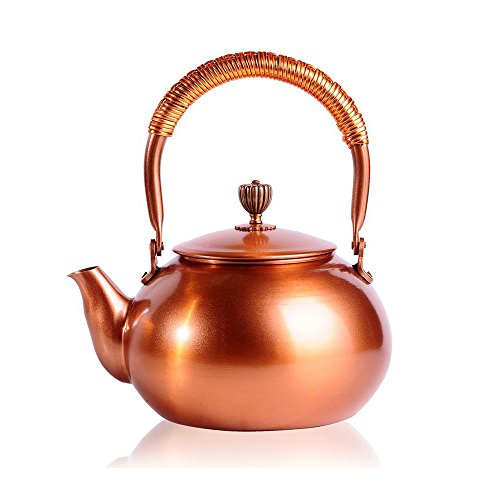 Copper Classic Kettle - Tea Kettle CHANMOL 50 Ounce BPA Free Red Copper Tea Pot Stove Top Coil Handle ,Classic Espresso Coffee Pouring Pot for Home Kitchen,Hotel,Restaurant and Office,Gold