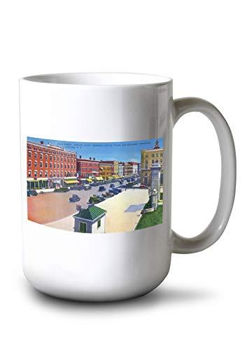 Lantern Press Concord, New Hampshire - Southern View Down Main Street, Capitol Plaza (15oz White Ceramic Mug)