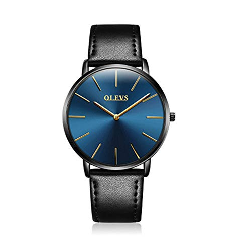 OLEVS Women's Ultra Thin Minimalist Slim Blue Big Face Dress Wrist Watches Gift for Ladies Waterproof Simple Business Casual Golden Analog Quartz Watch with Classic Retro Leather Band Black On Sale