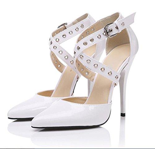 AJUNR Moda/elegante/Transpirable/Sandalias La correa solo zapatos consejos bien con las tiras transversales remaches sexy BLANCO 12cm de alto-Heel Shoes 39 39